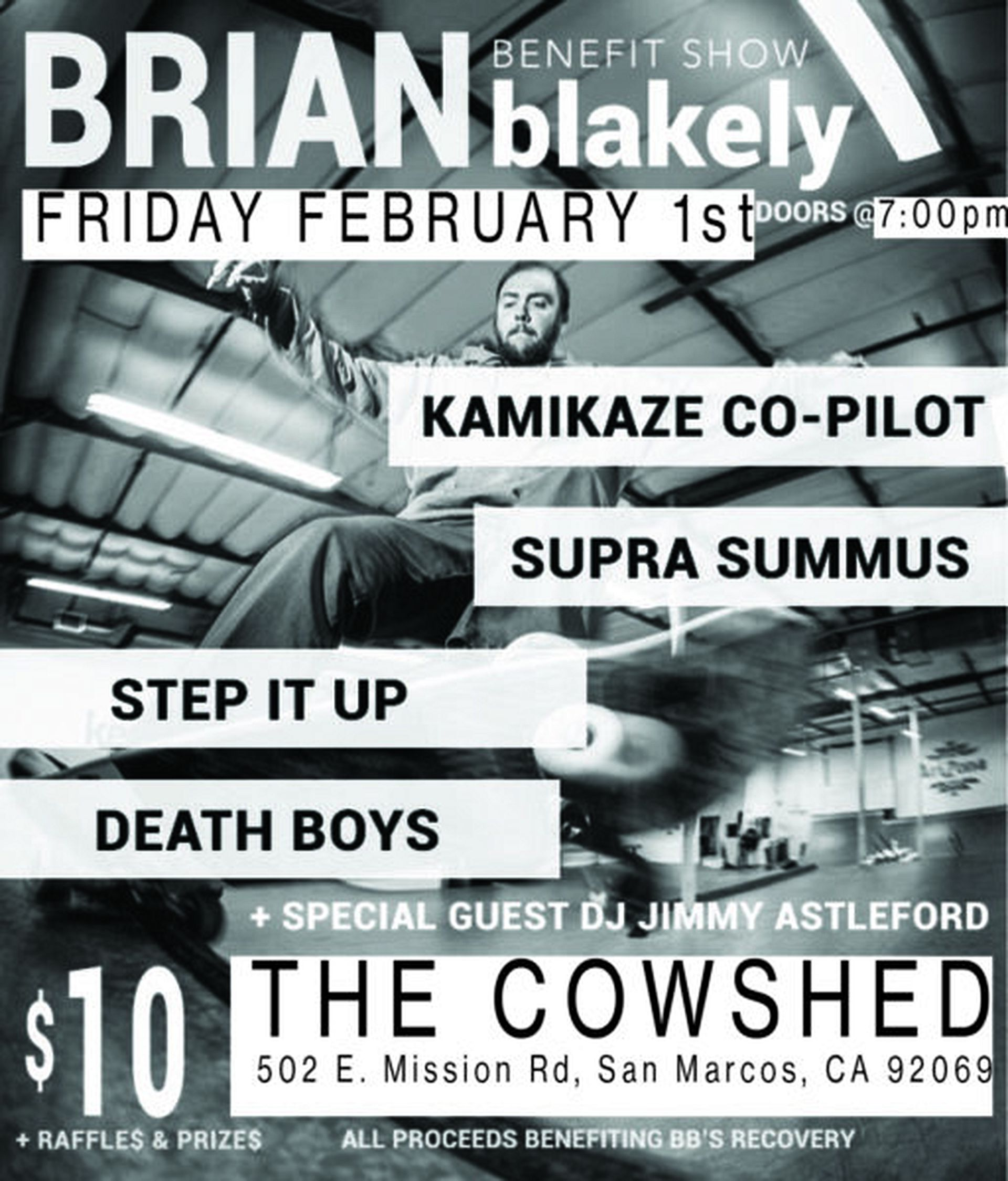 BRIAN BLAKELY BENEFIT SHOW ON FEBRUARY 2ND